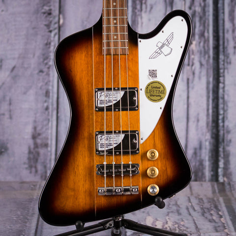 Epiphone Thunderbird Vintage PRO Electric Bass Guitar, Tobacco Sunburst, front closeup