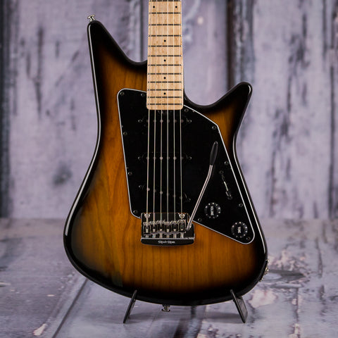 Ernie Ball Music Man Albert Lee SSS Electric Guitar, Vintage Tobacco, front closeup