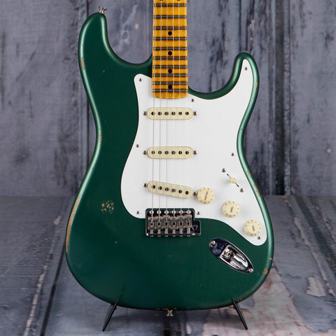 Fender 1956 Stratocaster Relic Electric Guitar, Aged Sherwood Green Metallic, front closeup