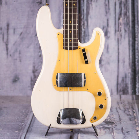 Fender 1959 Journeyman Relic Precision Bass Guitar, 2018, Aged White Blonde, front closeup