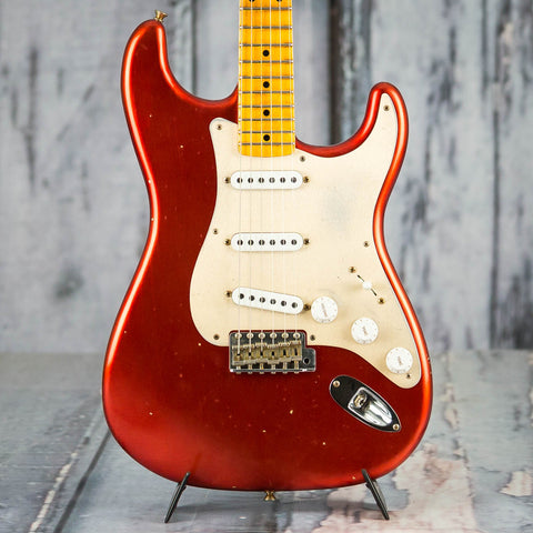 Fender 2019 Limited Edition '55 Dual-Mag Strat Journeyman Relic Electric Guitar, Super Faded Aged Candy Apple Red, front closeup