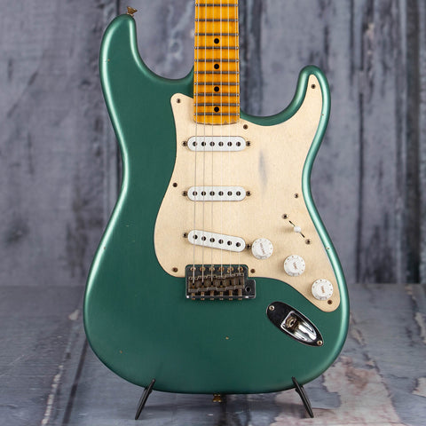 Fender 2019 Limited Edition '55 Dual-Mag Strat Journeyman Relic Electric Guitar, Super Faded Aged Sherwood Green Metallic, front closeup