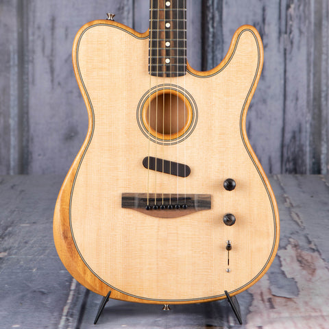 Fender American Acoustasonic Telecaster Acoustic/Electric Guitar, Natural, front closeup
