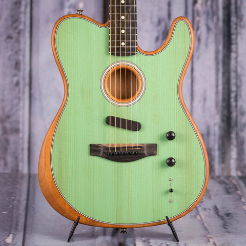 Fender American Acoustasonic Telecaster Acoustic/Electric Guitar, Surf Green, front closeup