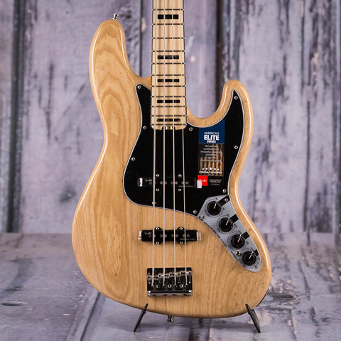 Fender American Elite Jazz Bass Guitar, Natural, front closeup