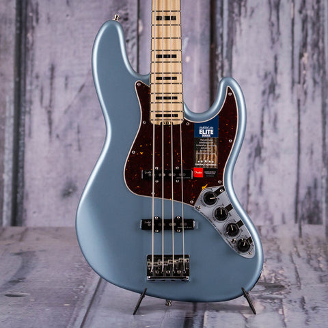 Fender American Elite Jazz Bass Guitar, Satin Ice Blue Metallic, front closeup