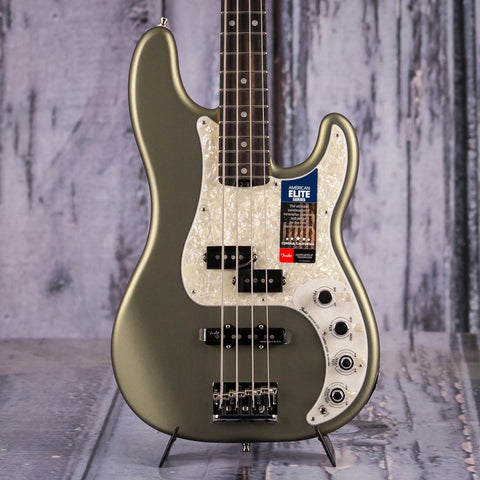 Fender American Elite Precision Bass Guitar, Satin Jade Pearl Metallic, front closeup