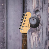 Fender American Elite Stratocaster, Ebony Fingerboard, 3-Color Sunburst, front headstock closeup