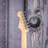 Fender American Elite Stratocaster, Ebony Fingerboard, 3-Color Sunburst, back headstock closeup