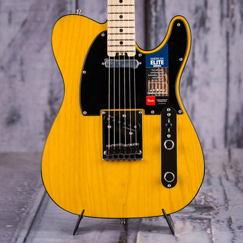 Fender American Elite Telecaster Electric Guitar, Butterscotch Blonde, front closeup