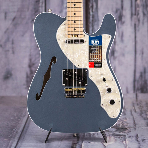 Fender American Elite Telecaster Thinline Semi-Hollowbody, Mystic Ice Blue, front closeup