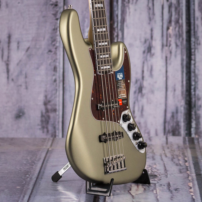 Fender American Elite V Jazz Bass, Satin Jade Pearl Metallic