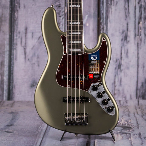 Fender American Elite V Jazz Bass Guitar, Satin Jade Pearl Metallic, front closeup