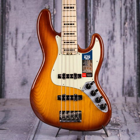Fender American Elite V Jazz Bass Guitar, Tobacco Sunburst, front closeup