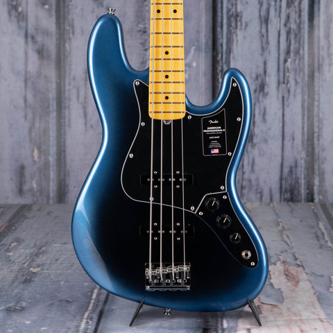 Fender American Professional II Jazz Bass Electric Guitar, Dark Night, front closeup