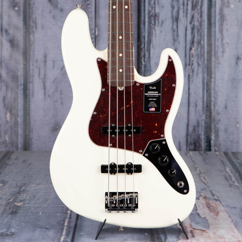 Fender American Professional II Jazz Bass Guitar, Olympic White, front closeup