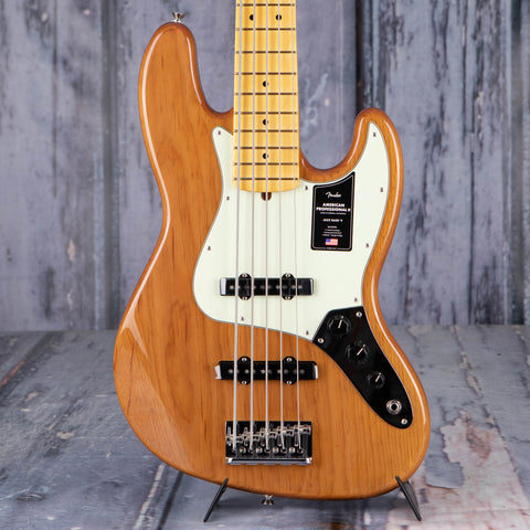 Fender American Professional II Jazz Bass V 5-String Guitar, Roasted Pine, front closeup