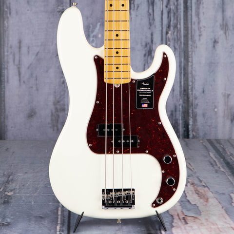 Fender American Professional II Precision Bass Guitar, Olympic White, front closeup