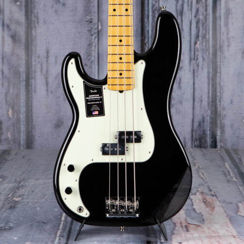 Fender American Professional II Precision Bass Left-Handed Guitar, Black, front closeup