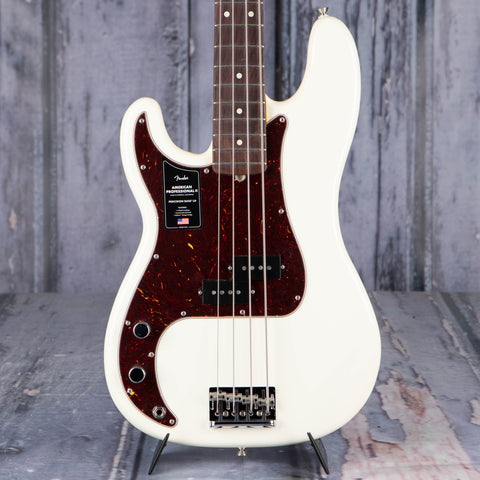 Fender American Professional II Precision Bass Left-Handed Guitar, Olympic White, front closeup