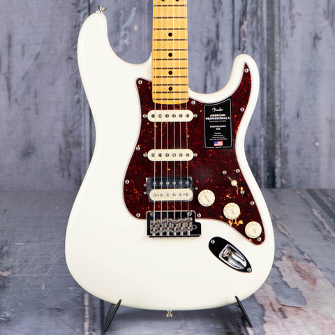 Fender American Professional II Stratocaster Electric Guitar, HSS, Olympic White, front closeup