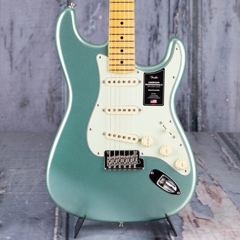 Fender American Professional II Stratocaster Electric Guitar, Mystic Surf Green, front closeup