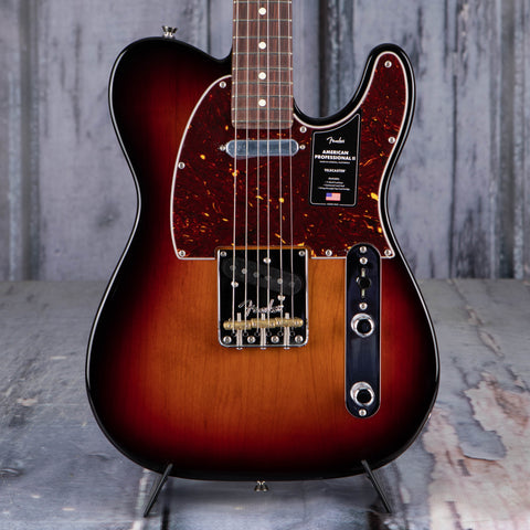 Fender American Professional II Telecaster Electric Guitar, 3-Color Sunburst, front closeup