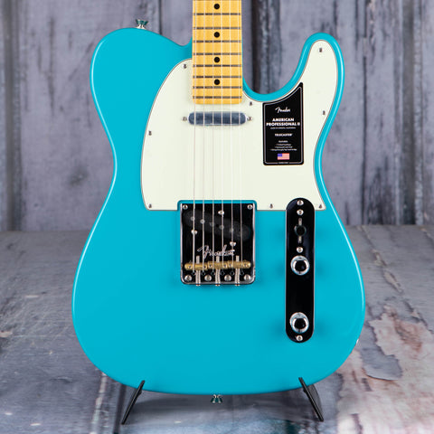 Fender American Professional II Telecaster Electric Guitar, Miami Blue, front closeup