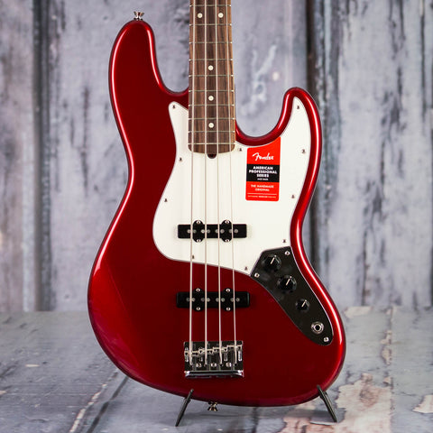 Fender American Professional Jazz Bass Guitar, Candy Apple Red, front closeup
