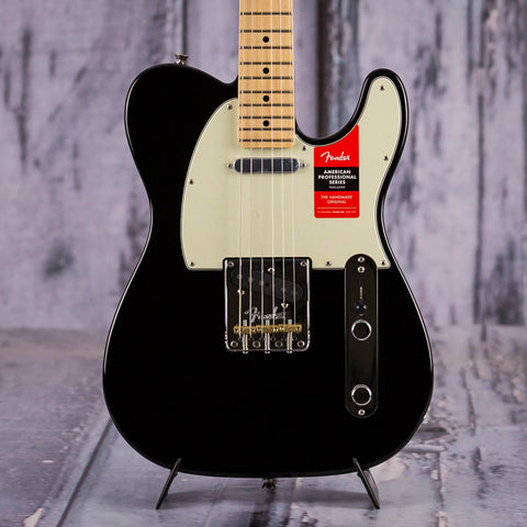 Fender American Professional Telecaster Electric Guitar, Black, front closeup
