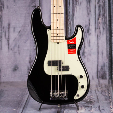 Fender American Professional V Precision Bass Guitar, Black, front closeup