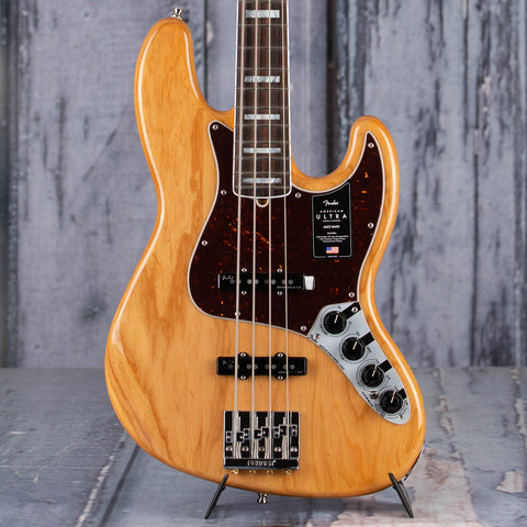 Fender American Ultra Jazz Bass Guitar, Rosewood Fingerboard, Aged Natural, front closeup