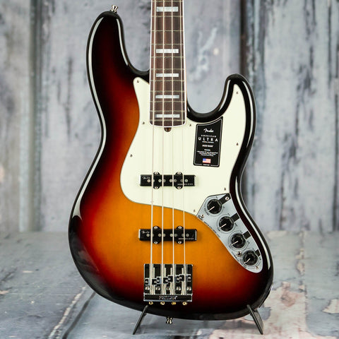 Fender American Ultra Jazz Bass Guitar, Rosewood Fingerboard, Ultraburst, front closeup