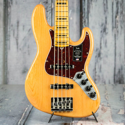 Fender American Ultra Jazz Bass V 5-String, Maple Fingerboard, Aged Natural, front closeup