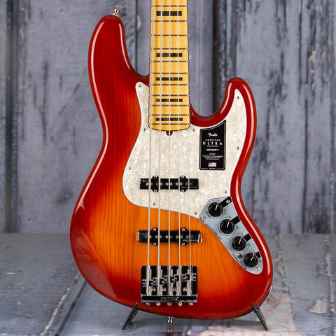 Fender American Ultra Jazz Bass V 5-String Bass Guitar, Maple Fingerboard, Plasma Red Burst, front closeup