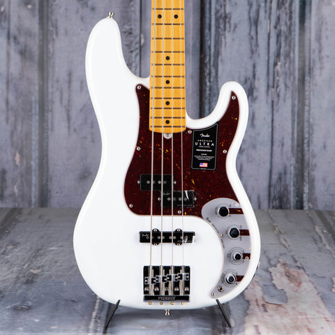 Fender American Ultra Precision Bass Guitar, Maple Fingerboard, Arctic Pearl, front closeup