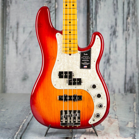 Fender American Ultra Precision Bass Guitar, Maple Fingerboard, Plasma Red Burst, front closeup