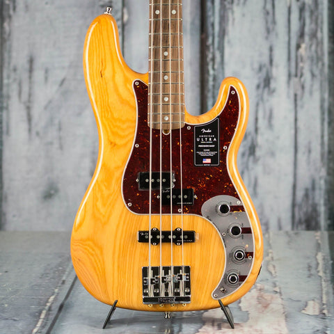 Fender American Ultra Precision Bass Guitar, Rosewood Fingerboard, Aged Natural, front closeup