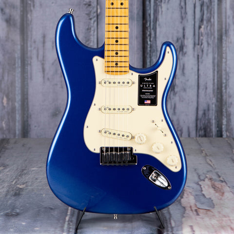 Fender American Ultra Stratocaster Electric Guitar, Maple Fingerboard, Cobra Blue, front closeup