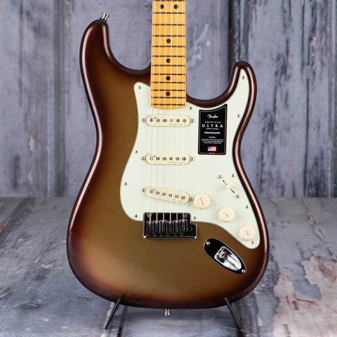 Fender American Ultra Stratocaster Electric Guitar, Maple Fingerboard, Mocha Burst, front closeup