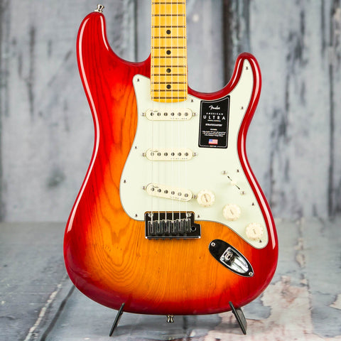 Fender American Ultra Stratocaster Electric Guitar, Maple Fingerboard, Plasma Red Burst, front closeup
