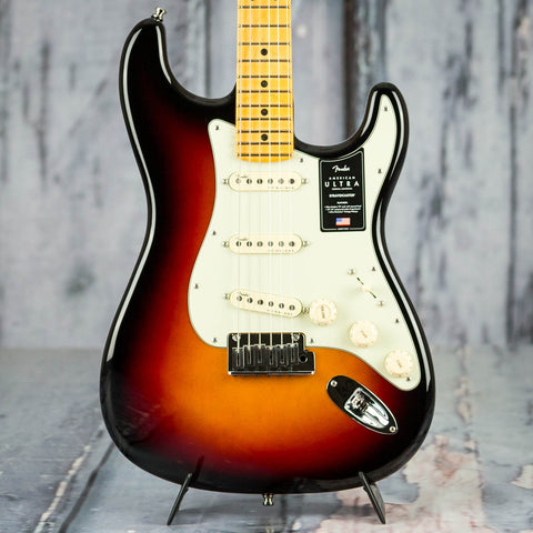 Fender American Ultra Stratocaster Electric Guitar, Maple Fingerboard, Ultraburst, front closeup