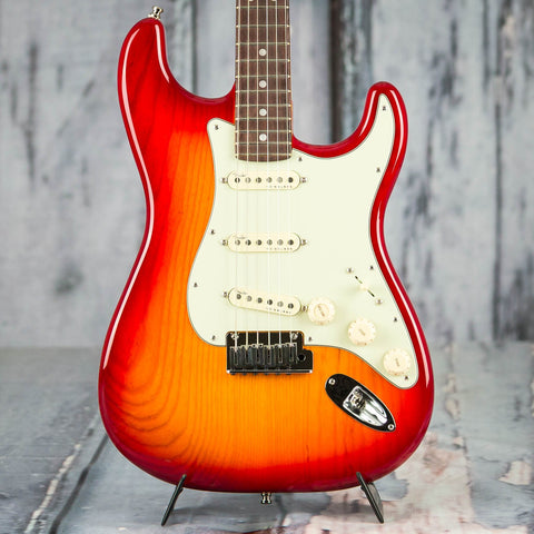 Fender American Ultra Stratocaster Electric Guitar, Rosewood Fingerboard, Plasma Red Burst, front closeup