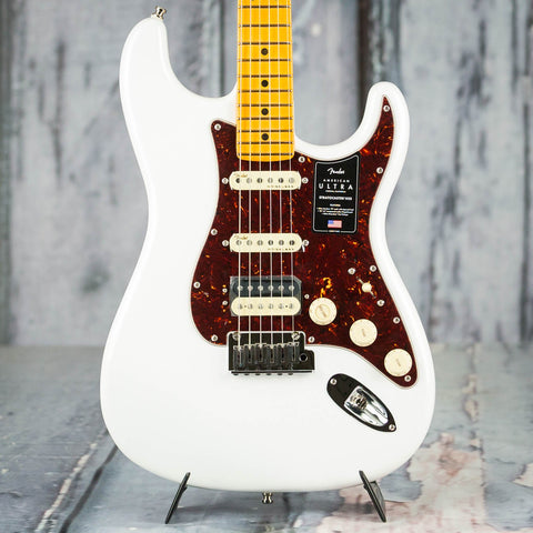 Fender American Ultra Stratocaster HSS Electric Guitar, Maple Fingerboard, Arctic Pearl, front closeup