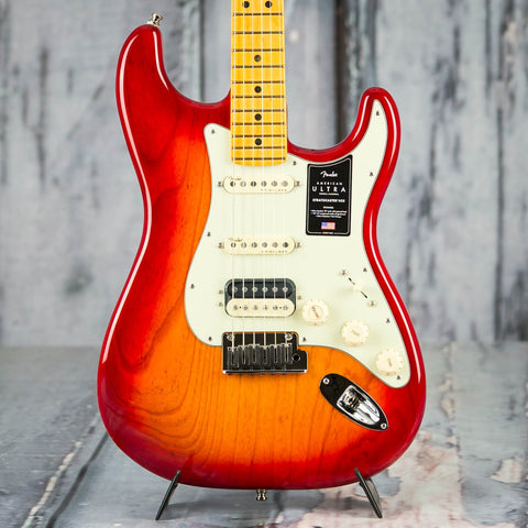 Fender American Ultra Stratocaster HSS Electric Guitar, Maple Fingerboard, Plasma Red Burst, front closeup