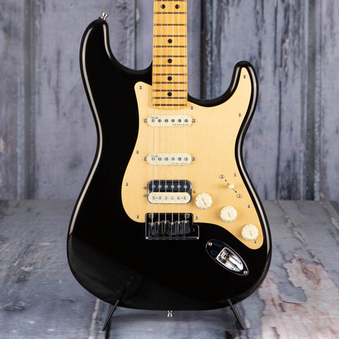 Fender American Ultra Stratocaster HSS Electric Guitar, Maple Fingerboard, Texas Tea, front closeup