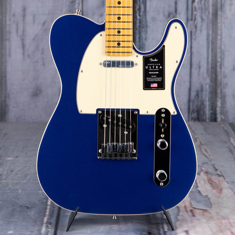 Fender American Ultra Telecaster Electric Guitar, Maple Fingerboard, Cobra Blue, front closeup