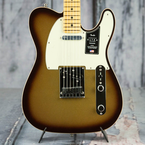 Fender American Ultra Telecaster Electric Guitar, Maple Fingerboard, Mocha Burst, front closeup