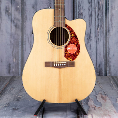 Fender CD-140SCE Dreadnought Acoustic/Electric Guitar, Natural, front closeup