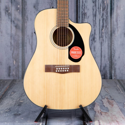 Fender CD-60SCE Dreadnought 12-String Acoustic/Electric Guitar, Natural, front closeup